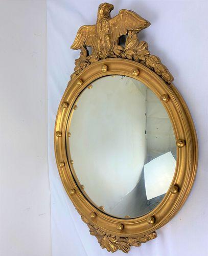 Gold Color Carved Eagle Wood Framed Ellipse  Mirror