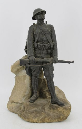 Illegibly Signed Sculpture Of A Soldier On Stone