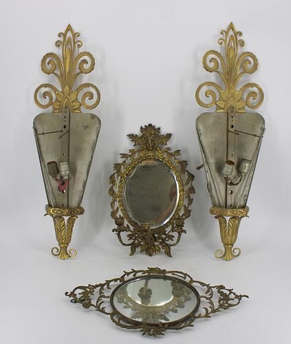 An Antique Pr Of Bronze Sconces, A Mirrored Sconce