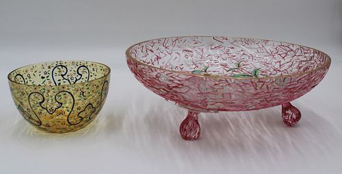 2 Fine Antique Enameled Glass Bowls.