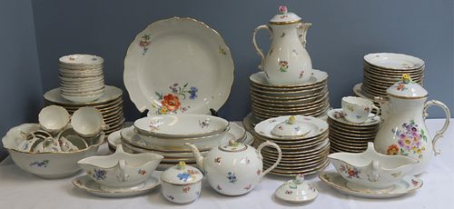 Meissen. Large Service of Hand Painted Porcelain.