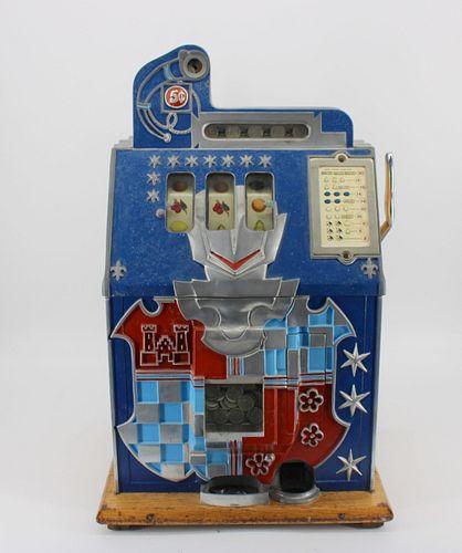 Mills Vintage 5 Cent Slot Machine With Castle