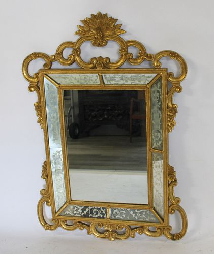 Vintage & Fine Quality Giltwood Mirror With Etched