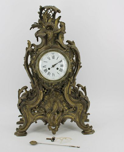 Large French Bronze Louis XV Style Clock.