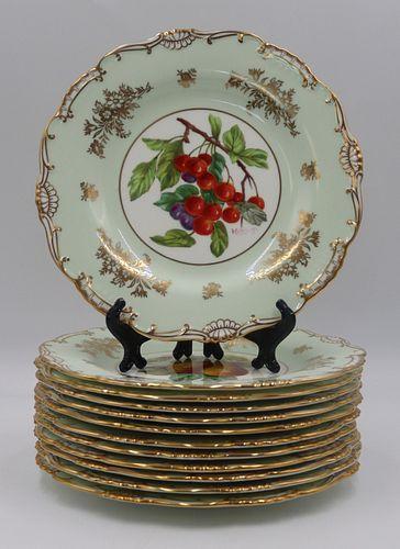 (12) Signed Minton Gilt Decorated Fruit Plates.