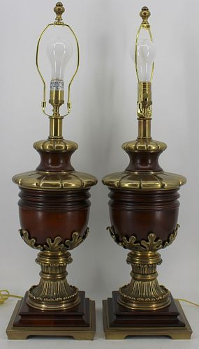 A Fine Quality Pair Of Brass Urn Form Lamps.