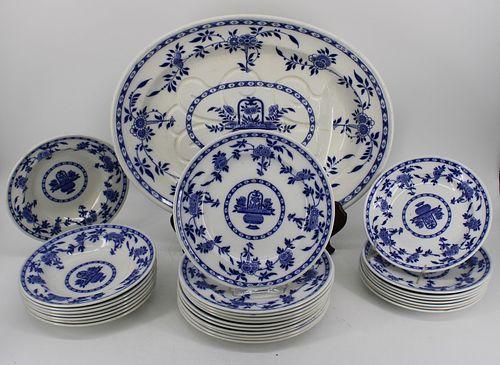 """Minton Porcelain """"Delft"""" Platter, Plates & Bowls"""