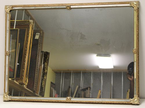 Antique Gilt Mirror With Silvered Metal Corners.