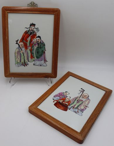 (2) Chinese? Enamel Decorated Plaques.