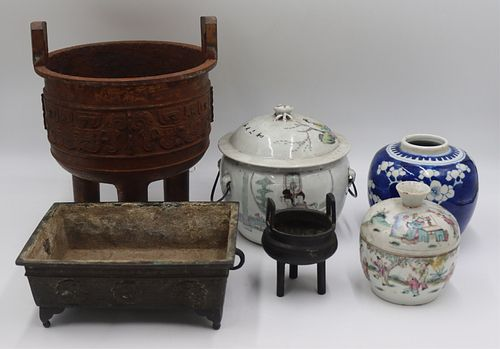 Grouping of Asian Porcelain and Censers.