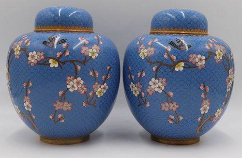 Pair of Chinese Cloisonne Lidded Jars.