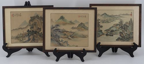 (3) Signed Asian Watercolor Landscapes on Silks.