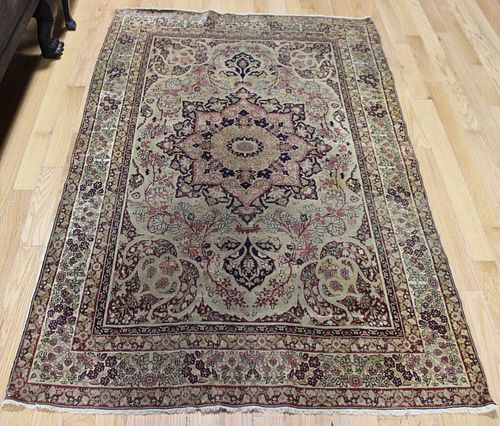 Antique And Finely Hand Woven Area Carpet.