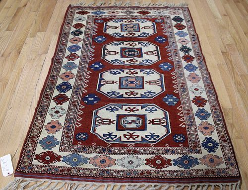Vintage And Finely Hand Woven Kazak Style Area Rug