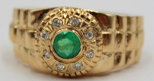 JEWELRY. Men's 18kt Gold Diamond and Gem Ring.