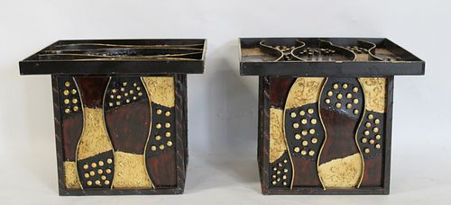 Pair Of Metal Patchwork Tables In The Style Of