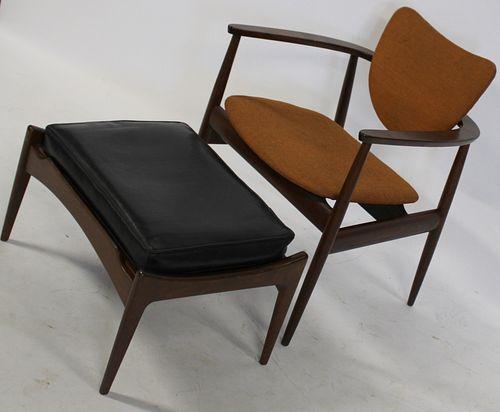 Midcentury Danish Modern Chair And Ottoman.