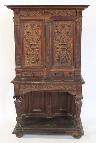 Antique Highly & Finely Carved Continental Cabinet