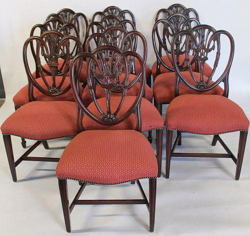 Matched Set Of 10 Mahogany Shield Back Chairs.