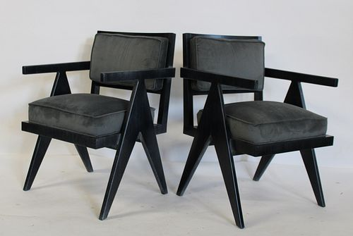 A Vintage Pr Of Ebonised Chairs After