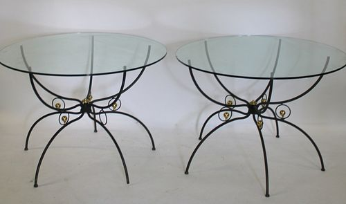 Pair Of Midcentury Patinated & Gilt Metal Spider