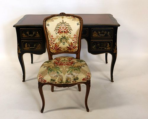 Kindel Chinoiserie Decorated Leathertop Desk