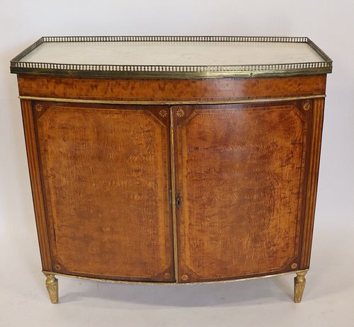 An Antique Demilune Satinwood Marbletop