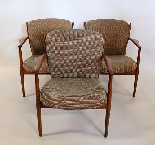 Midcentury. Lot Of 3 Danish Modern Armchairs