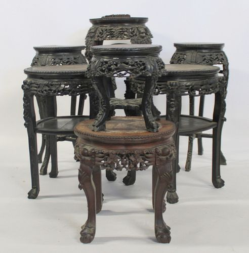 Lot Of 7 Highly Carved Asian Hardwood Stands.