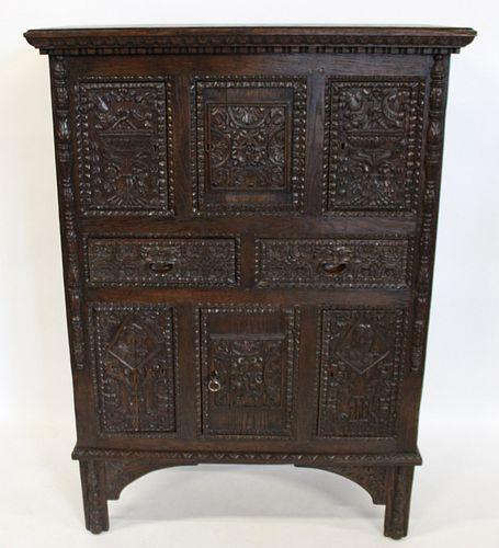 Antique, Highly & Finely Carved Oak Cabinet.