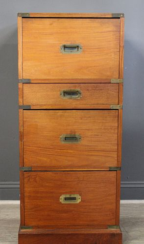 Antique Campaign Style File Cabinet.