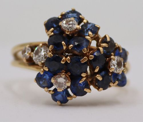 JEWELRY. Colored Gem, Diamond and 14kt Gold Ring.