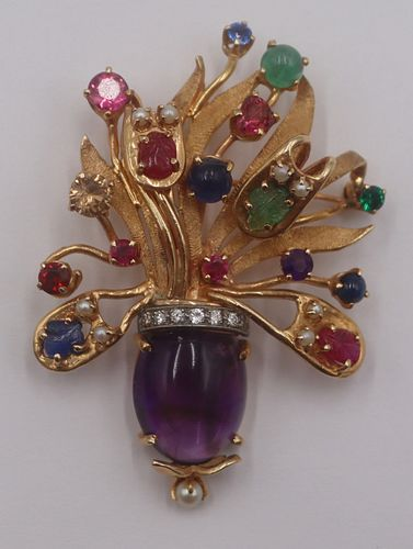 JEWELRY. 14kt Gold, Colored Gem, Pearl and Diamond