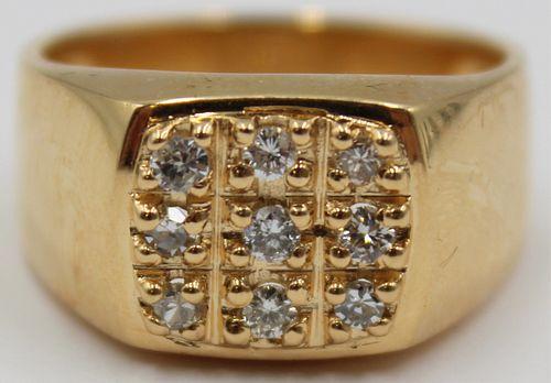 JEWELRY. Men's 18kt Gold Diamond Ring.