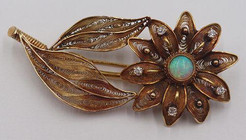 JEWELRY. 18kt Gold Filigree Floral Brooch.