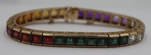 JEWELRY. 14kt Gold and Colored Gem Bracelet.