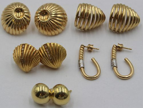 JEWELRY. (5) Pair of Yellow Gold Earrings.