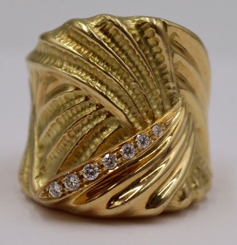JEWELRY. Signed Augusto 18kt Gold and Diamond Ring