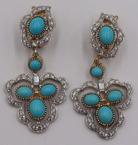 JEWELRY. Pair of Cartier Turquoise, Diamond, 18kt