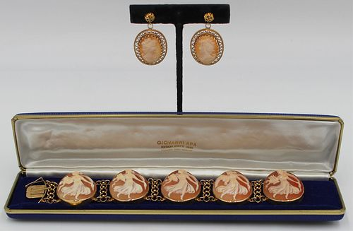 JEWELRY. 14kt Gold Shell Cameo Jewelry Grouping.