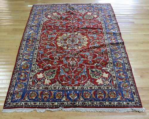 Antique And Finely Hand Woven Isfahan Carpet.