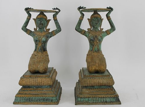 Pair of Patinated and Gilt Decorated Bronze South