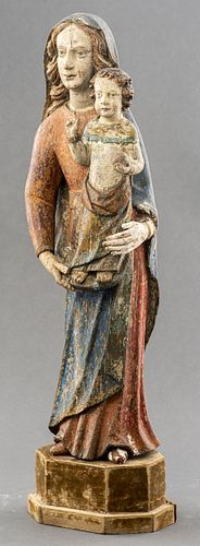 Baroque Madonna And Child Carved Wood Sculpture