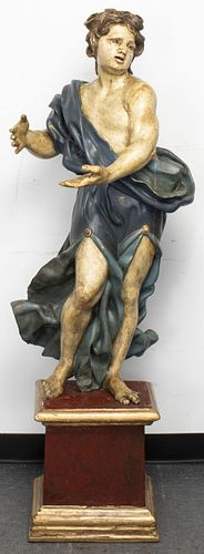 Italian Baroque Giltwood Polychrome Santo 17th C