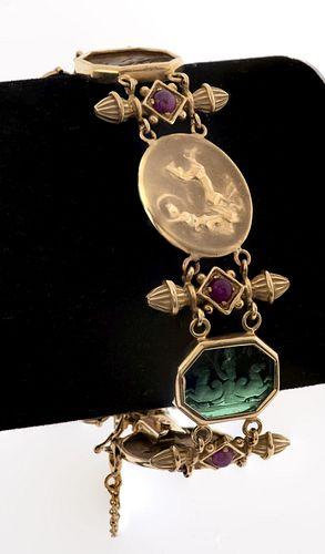 14K Gold Victorian Revival Ruby & Glass Bracelet
