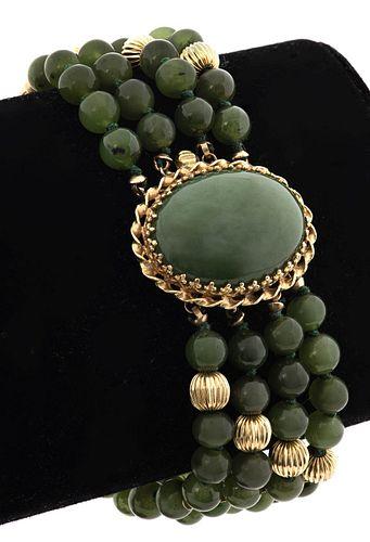 14K Yellow Gold Green Garnet Multi-Strand Bracelet