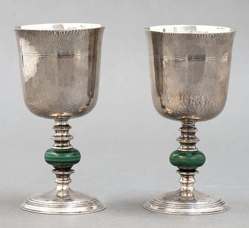 Buccellati Silver And Malachite Goblets, Pair