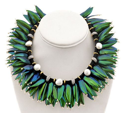 Lotus Arts de Vivre 18K Diamond & Pearl Necklace