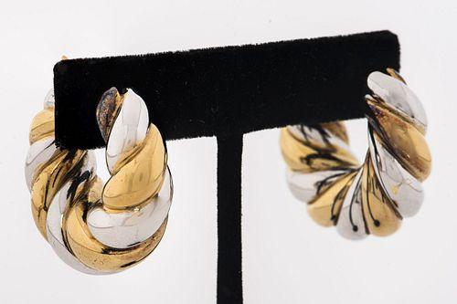 EFFEDUE Italian 18K Two-Tone Twist Hoop Earrings