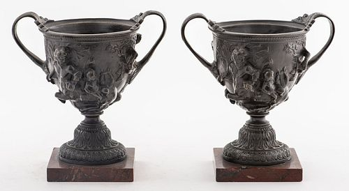 Grand Tour Bronze Vases On Marble Stands, Pair